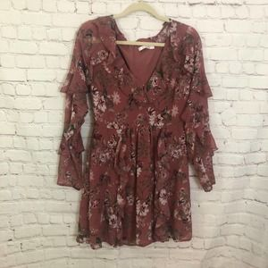 WAYF Olive Floral Printed Ruffle Flare Dress S